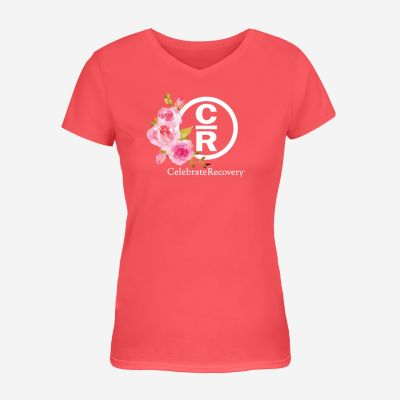 Rose Collection Coral Women's V-Neck Shirt